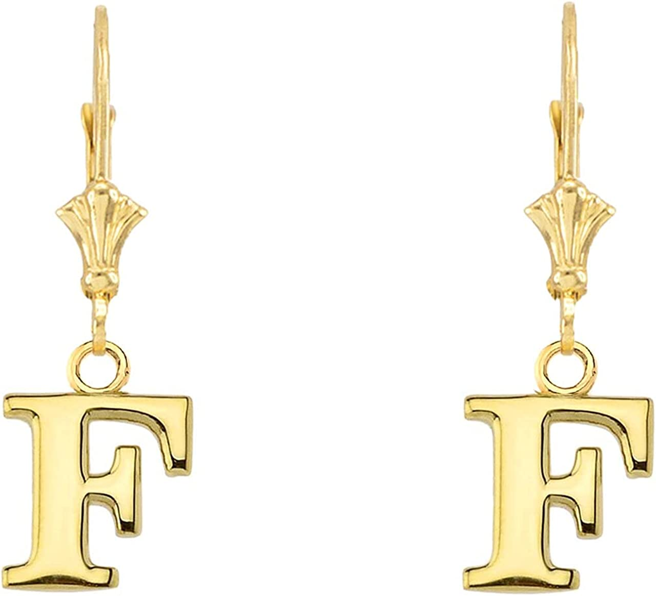 INITIAL EARRINGS Omaha Mall IN 14K YELLOW Dealing full price reduction F GOLD Letters: -