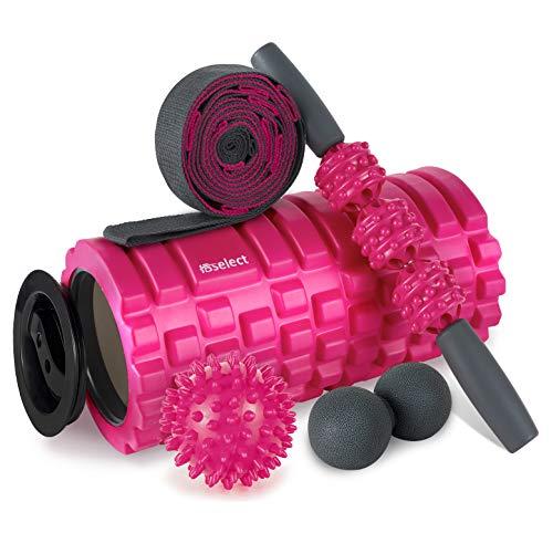HBselect Faszienrolle Set Wirbelsäule Foam Roller Massagerollen Duoball Massagestäbchen Massageball (5 in 1 Rosa)