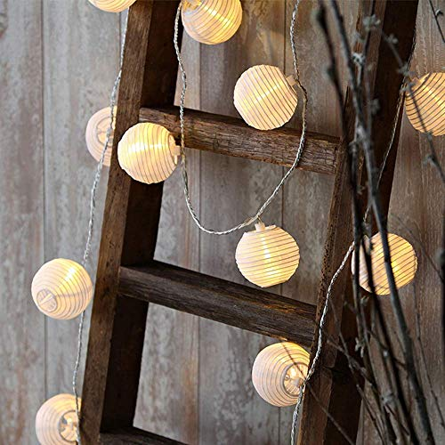 40Led 33ft Lantern String Lights, 8 Modes Warm White Lantern Fairy Lights Plug in with Remote Control, Waterproof Lantern Lights Outdoor for Garden Wedding Party Ornaments [Energy Class A+++]