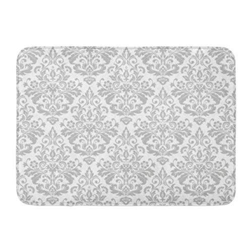 Fußmatten Bad Teppiche Outdoor/Indoor Fußmatte Damast in der Barock grau und weiß Floral Vintage...