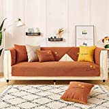 Homeen Sala Funda Protectora Sofa Cubierta de sofá para sofá de Tela/sofá de Cuero,Bordado de Hojas de Arce,Funda de sofá Antideslizante,sofá universales Modernos-Naranja_45 * 45 cm Almohada