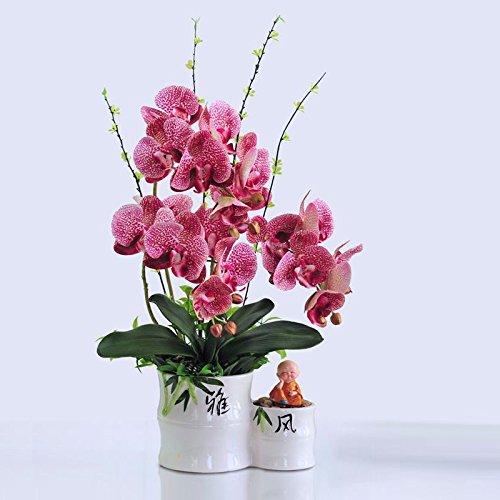 USDFJN Fleur Artificielle False Europe Style Rouge Décoration Vase