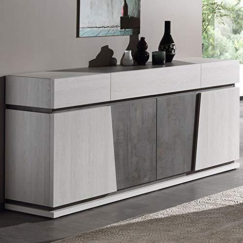Dressoir M-128 kleur eiken wit en grijs modern DALIE Modern design L 190 x P 49 x H 95 cm Wit.