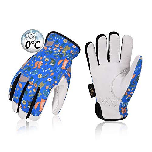 Vgo 4-10歳用 子供 0℃ or 0℃以上に 3M Thinsulate C40 冬用 羊革 3D立体 柔軟 耐摩耗 キッズグローブ 防寒防水手袋 多目的 冬用子供手袋(1双入,Blue,GA9636FW-KID) (5-6 Y/O./ KID-S)