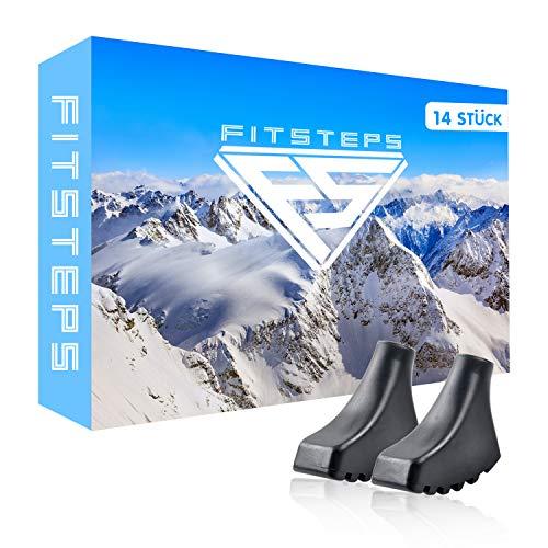 FITZTEPS Wanderstöcke Gummipuffer [ 14 Stück ] Nordic Walking Stöcke Gummipuffer - Wanderstöcke Aufsätze - Profi Wanderstock Aufsatz für alle gängigen Wanderstöcke - Pads für Trekkingstöcke