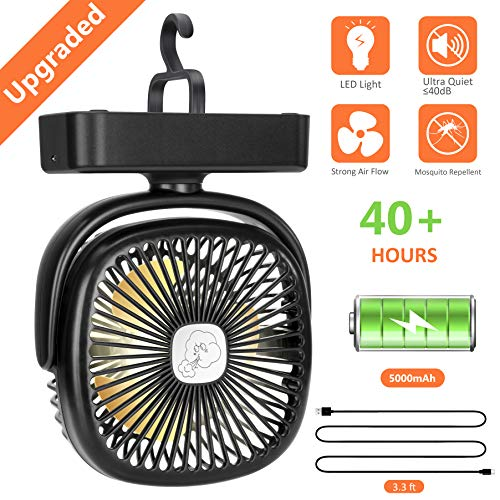 COMLIFE Portable LED Camping Lantern with Tent Fan -5000 mAh Battery Powered Mini Desk Fan with USB Charging Input-Survival Kit for Hurricane, Emergency, Storm, Outages