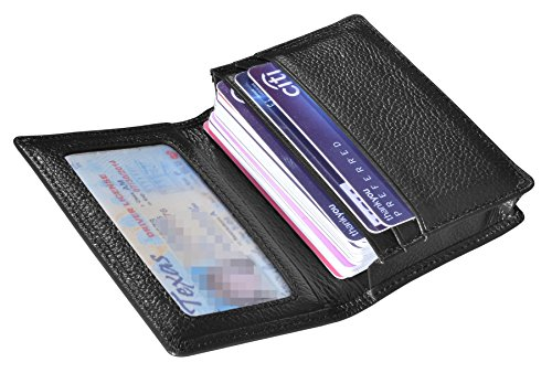 Outrip Genuine Leather Business Card Holder Name Card Case Credit Card Wallet with ID Window RFID Blocking (Black)