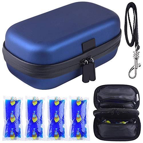 Insulin Kühltasche Diabetiker Organizer tragbare medizinische kühlbox Reise-Kühltasche + 4 Kühlakkus(Blau)(Blau)