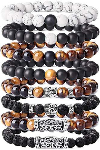 BESTEEL 8 STÜCKE 8 MM Beads Armbänder für Herren Männer Vulkangestein Gelb Tigerauge Armband Weiß Kiefer Buddha Kopf Armband Biker Goth Punk Elastische Armband Set