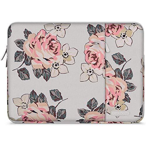 MOSISO Laptop Sleeve Compatible with 13-13.3 inch MacBook Pro, MacBook Air, Dell Lenovo HP Asus Acer Samsung Sony Chromebook Computer, Polyester Rose Pattern Vertical Bag with Pocket, Gray