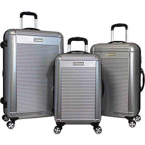 World Traveler Regal 3-teiliges Koffer-Set, Hardside, leicht, silberfarben