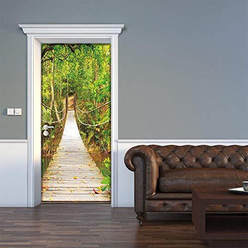 LOSAYM Etiqueta De La Puerta Puente Colgante 3D Decoración De La Puerta Etiqueta Autoadhesiva Impermeable De La Puerta-77cm(W)*200cm(H)