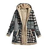 Invierno Vintage Mujer Abrigo Chaqueta Impresión Cálida Fleece Grueso Capucha Flojo Abrigo for Mujeres (Color : 3, Size : Small)