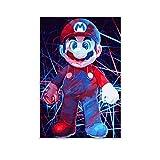Decoración para el hogar Panel de sala Super Mario rojo y azul tono pintura lienzo cartel 20x30cm