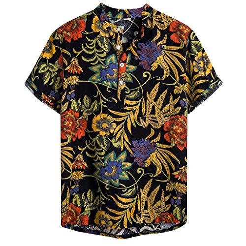 WINJIN Chemise Hawaïenne Homme Haut Casual Boho T-Shirt Pas Cher Top Imprimé Plante Tropicale Chemise Plage Blouse Palmier Tunique Homme Slim Fit Haut Chic Chemise Manches Courtes Vintage