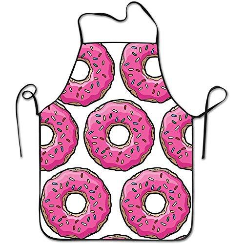 Schürzen Rosa Simpsons Donut und Halsriemen Schürze für die Küche BBQ Barbecue Kochen Gartenarbeit Wasserdicht Langlebig und große Geschenk Uniform Code Anzug für Männer Frauen Kreatives Design Lätzch