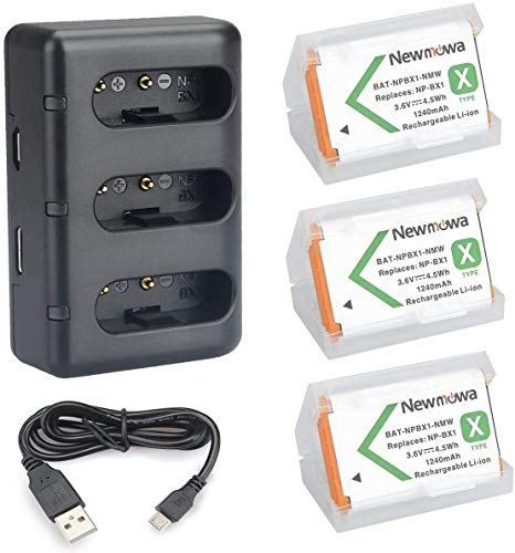 NP-BX1 Newmowa Replacement Battery (3-Pack) and 3-Channel USB Charger Set for Sony NP-BX1 and Sony DSC-RX100,DSC-RX100 II,DSC-RX100M II,DSC-RX100 III,DSC-RX100 IV,DSC-RX100 V/VII,ZV-1