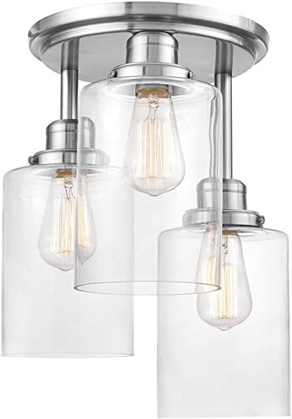 Globe Electric Annecy 3 Semi Flush Mount Ceiling Light Brushed Steel Clear Glass Shades 61418