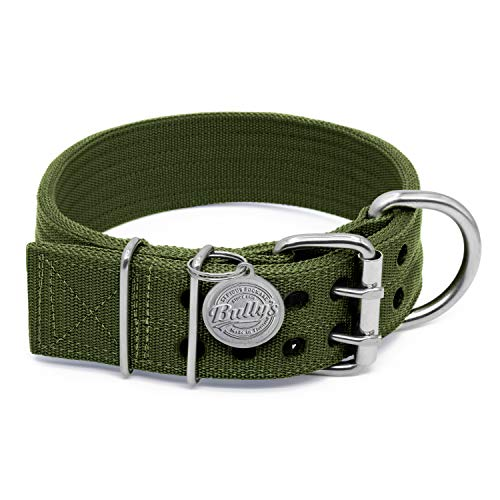 Pit Bull Collar, Dog Collar for Large Dogs, Heavy Duty Nylon, Stainless Steel Hardware (Large, Army Green)