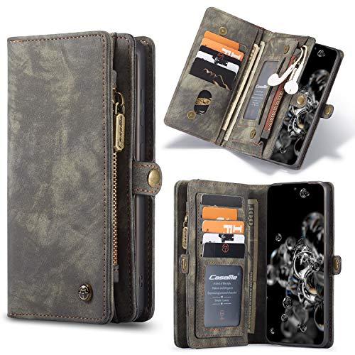 HülleMe Leder S20 Plus hülle, magnetisch Flip Folio Lederhülle Wallet Handyhülle für Samsung Galaxy S20 Plus 6.7 Zoll Ständer Cover, 13 x Kreditkarte Slots, 2 in 1 Abnehmbare zurück hülle (schwarz)