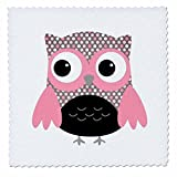 3dRose QS 61033_ 4Cute Pink auf Schwarz Polka Dots Eule