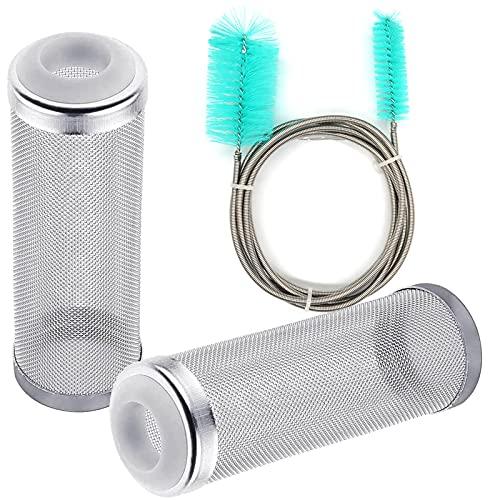 Kytpyi Accesorios para filtros de acuarios, Filtro pecera, Cepillo de Limpieza para acuarios,Filtro de auario de Acero Inoxidable, para laprotección de Peces y camarones (2 filtros, 1 Cepillo)
