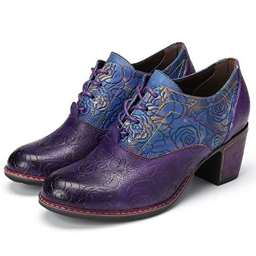 gracosy Damen Stiefeletten, Bunte Leder Stiefel mit Absatz Klassische Schnürstiefel Retro Handgemachte Spleißmuster Stiefel 2019 Frühling Sommer Schuhe Enegant Party Schuhe Pumps Blau Rot