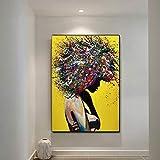KWzEQ Modernes Graffiti-Wandkunst-Leinwandplakat und Bunte Mädchenhauptdekoration der Druckkunst-Leinwandkunst,Rahmenlose Malerei,80x120cm