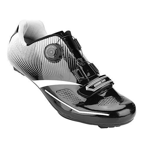 Alomejor 1 par de Zapatos de Ciclismo de Moda Antideslizantes SPD Lock System Zapatos de Ciclismo Transpirable Zapatos de Bicicleta de Carretera Hombres Adultos(39-Black)