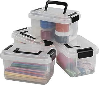 Cadine Mini Boite Rangement Plastique Lot de 4, Boîte en Plastique avec Couvercle