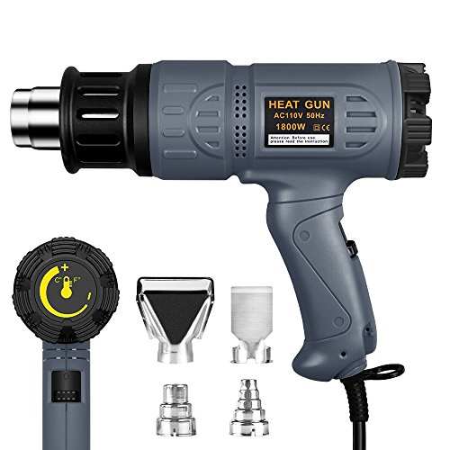 SEEKONE Industrial Heat Gun 1800W 122℉~1202℉(50℃-650℃) Variable Temperature Control with Two Temp-settings, Overload Protection, Four Nozzle Attachments for Shrinking PVC, Bending Pipe, Removing Paint