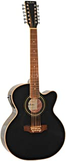 12 String Acoustic Electric Cutaway Jumbo Black Guitar with Built-in Tuner Combo with Gig Bag and Accesories. Guitarra Electrica Acustica Requinto Docerola Negra (black)