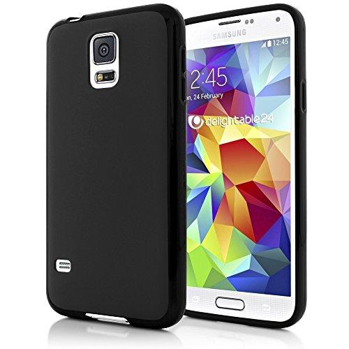 NALIA Handyhülle kompatibel mit Samsung Galaxy S5 Mini, Hülle Ultra-Slim Silikon Case, Dünne Crystal Schutzhülle Etui Handy-Tasche Schale Back-Cover Bumper, TPU Smart-Phone Gummi-Hülle - Schwarz