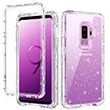 Galaxy S9 Plus Case Samsung S9 Plus Case GUAGUA Clear Glitter Bling Crystal Shiny Sparkly Cover for Girls Women 3 in 1 Hybrid Shockproof Protective Phone Case for Samsung Galaxy S9 Plus Transparent