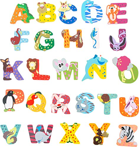 INDIGOS UG - Holzbuchstabe - A - für Kinder und Babys - Motiv Tiere für das Kinderzimmer, Schule, Kindergarten, zum Spielen, Basteln und Sammeln