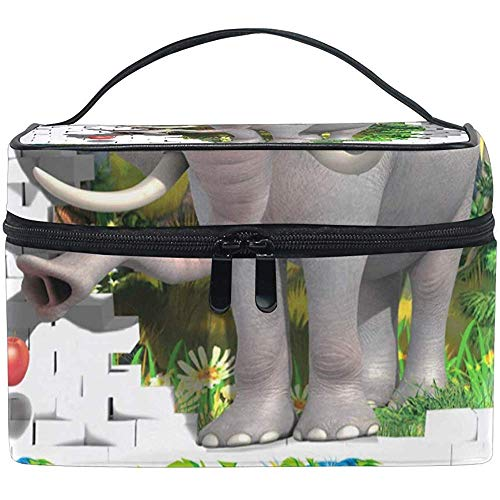 Make-up trein case olifant eten appel decoratieve schilderijen dragen draagbare rits cosmetische tas make-up tas