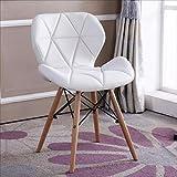 Yushesen Einfacher Holzstuhl, Sitzkissen aus Kunstleder, Bürostuhl, Designerhocker, 9 Farben (Farbe : E-1, Größe : -)