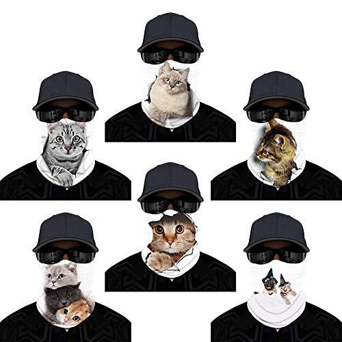 IBTOM CASTLE Gesichtsmaske Benutzerdefinierte 3D Tier Katze Hund Angeln Ski Sommer Neckwarmer Rave Camo Neck Schal Bandanas Sturmhaube für Staub, Sonnencreme, Parade, Im Freien,Radfahren weiße Katze