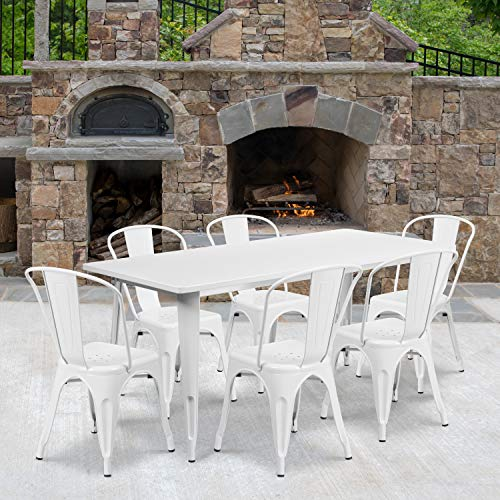 """Flash Furniture Commercial Grade 31.5"""" x 63"""" Rectangular White Metal Indoor-Outdoor Table Set with 6 Stack Chairs"""