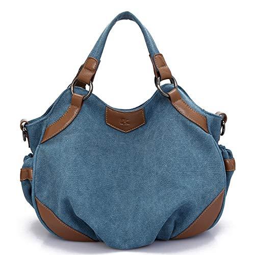 Pinle Bolsa de Lienzo, Bolso de Mujer Bolsa de Crossbody de Las Mujeres Bolsa de Asas de niña para Compras y Viajes Bolso Multifuncional Mujeres (Color : Blue)
