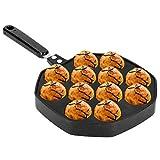 HelloCreate 12 Cavities Takoyaki Pan Aluminum Takoyaki Maker Octopus Balls Egg Puffs Baking Pan Home Cooking Tools