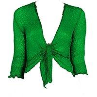 Rebeca estilo bolero simple, de punto, corta, con lazada Verde verde jade Talla única