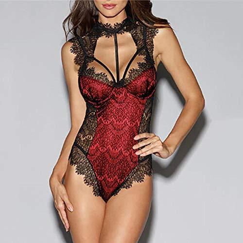 GDFGF Body erótico de Mujer Señoras lencería Sexy Body erótico Cuerpo de Encaje Elegante Sexy Ropa de Gato erótica Pole Dance Ropa Interior Ropa de Dormir