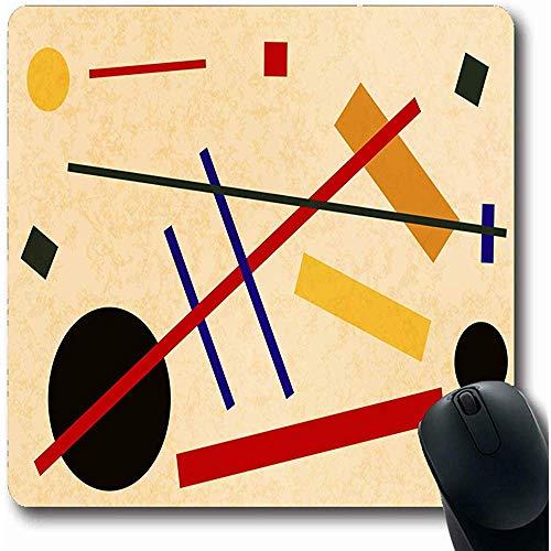 Mousepads Abstract Schilderij Suprematisme Flat Kandinsky Rood 70S Abstractionisme Bauhaus Minimaal Ontwerp Oblong Vorm 18X22Cm Niet-slip Gaming Mouse Pad