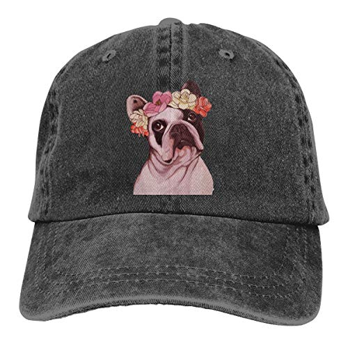 Washed Distressed Cotton Dad Hat Frenchie French Bulldog Rose Baseball Cap Adjustable Polo Trucker