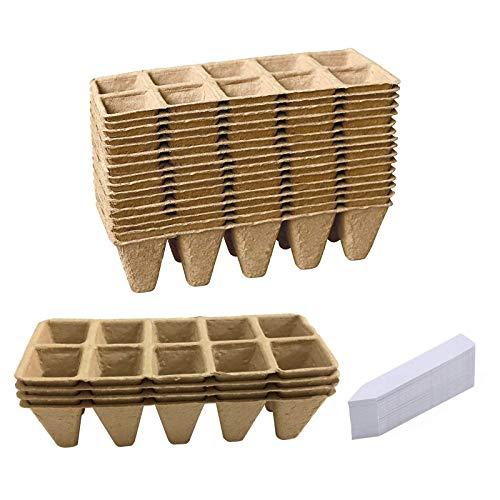 Bandejas para Semilleros Biodegradable,semillero Invernadero Kit,invernaderos Huerto Pequeño,semilleros De Germinacion Invernadero Plantas De Fibra Macetas para Flores (20pc, 10 Lado de Giro)