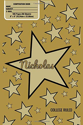 Nicholas Monogram Composition Book, Gold Stars Pattern Matte Cover, College Ruled Pages: 6x9 Inches, 100 Pages, Personalized and Perfect for Class, Work, Journaling, Recipes, Notes