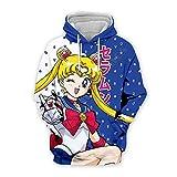 domorebest Sailor Moon T-Shirt, Sweat à Manches Longues Sailor Moon, Unisexe Tendance Classique Anime 3D imprimé T-Shirt Sweat Cosplay Costume