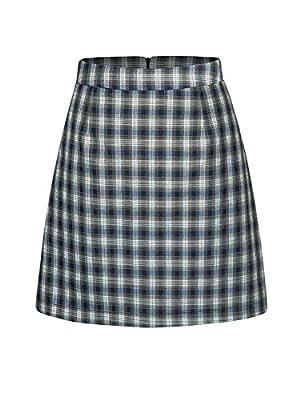 PERSUN Women's Blue Contrast Check Print A-Line Mini Skirt