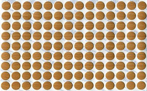 KwikCaps® PVC Ellmau Buche Selbstklebende Schrauben-Abdeckungen Abdeckkappen Nägel Cam flach [126 Stk. x 13 mm Durchmesser]